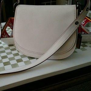 Coach Saddle Bag Chalk Leather Purse Great Shape